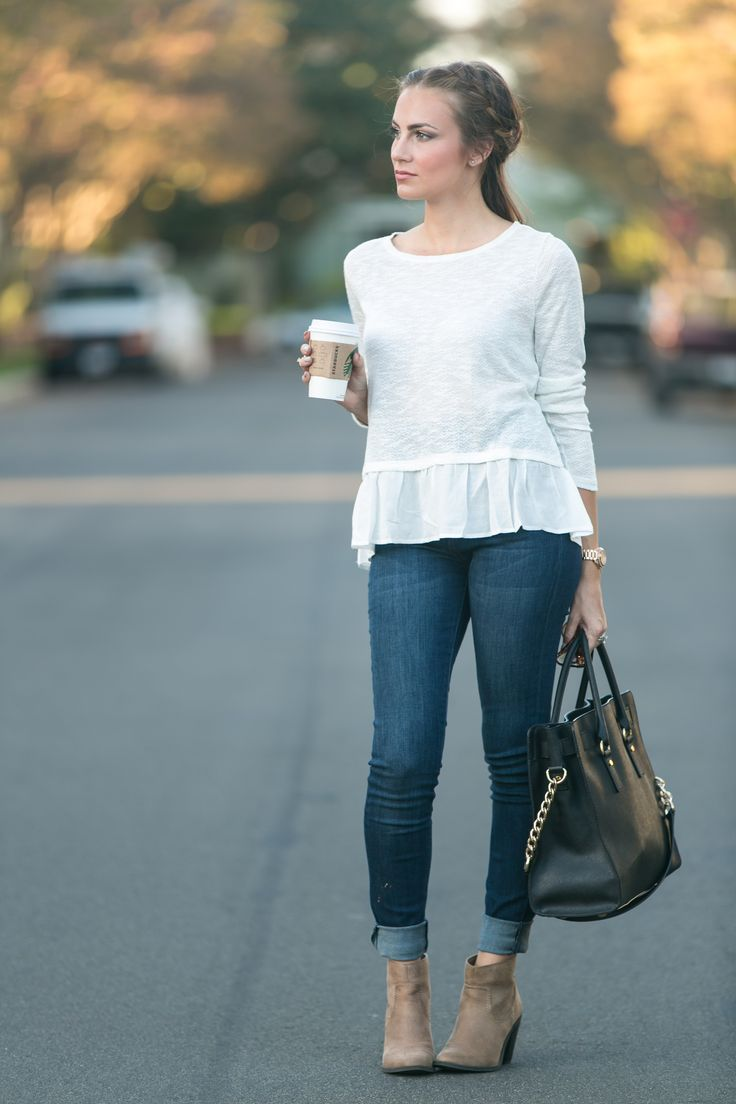 Forever 21 ruffle hem sweater, cuffed skinny jeans, tan booties and Michael Kors large Hamilton tote. Fall 2016 fashion inspo. #HelloGorgeous