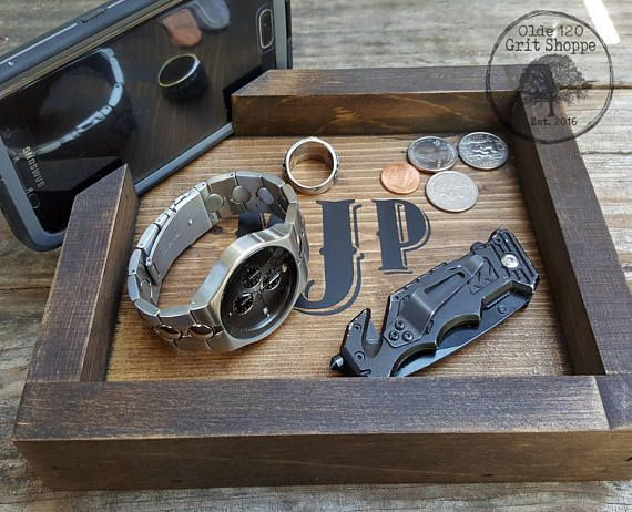 Men's valet tray | Fathers Day Gift | men's jewelry organizer | docking station | wood Phone holder | Catch all | Men's birthday gift