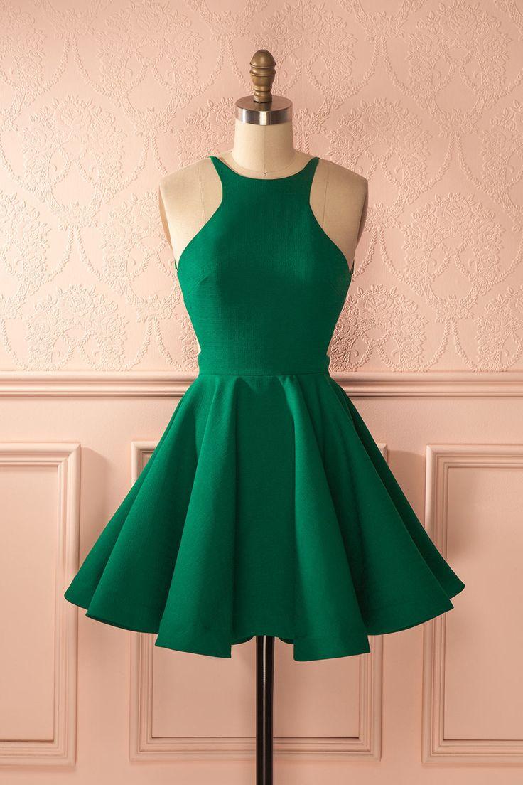 Ainslie Emerald - Green open-back a-line dress