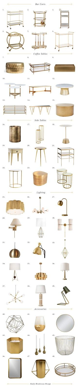 Gold Accents-Metals And Metallic Finishes-living Room-interior Design-Dwelling Decor…