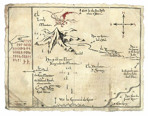::Thror's map is probably my favourite of Tolkien's maps. its so practical, and so like a treasure map.::