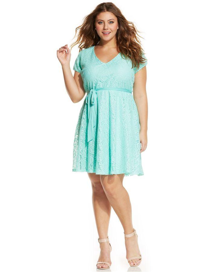 Love Squared Plus Size Short Sleeve Lace A Line Dress