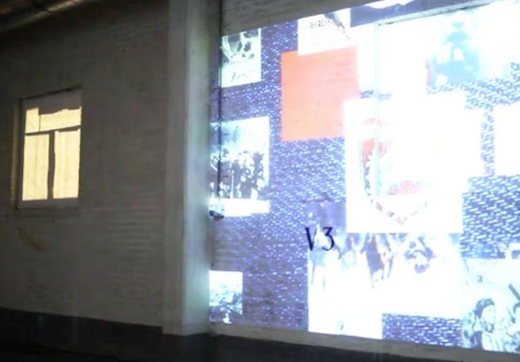 Projectie op ruwe muur