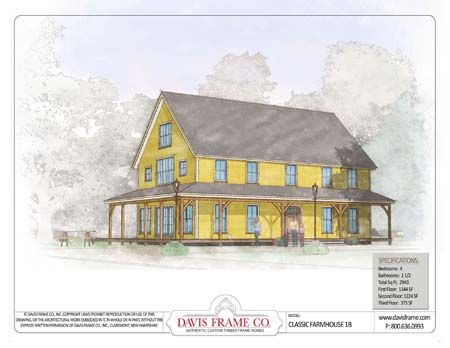Timber Frame House Plan of Davis Frame Company Elevation: Barns Home Plans, Dreams House, Farmhouse 1B, Farmhouse Floors Plans, Classic Farmhouse, Timber Frames House, Barns House, Farmhouse Plans, Farmhouse Exterior