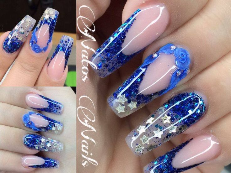M s de 1000 ideas sobre u as acrilicas azules en pinterest - Unas azules decoradas ...