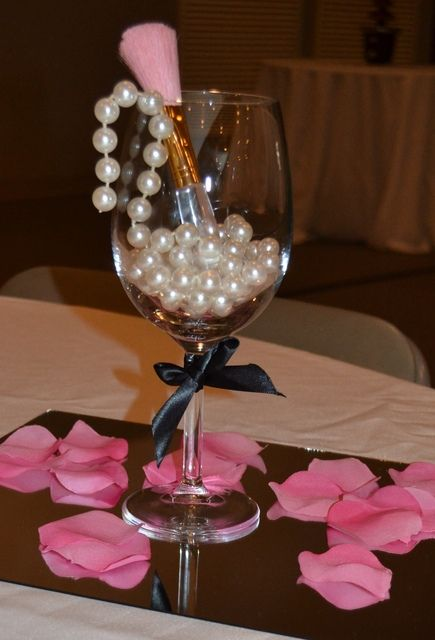 Bridal wedding shower party ideas simple centerpieces
