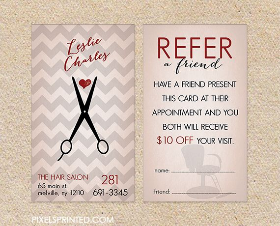 hair salon referral cards, hairstylist referral cards, referral cards for hair salons, referral cards for hairstylists