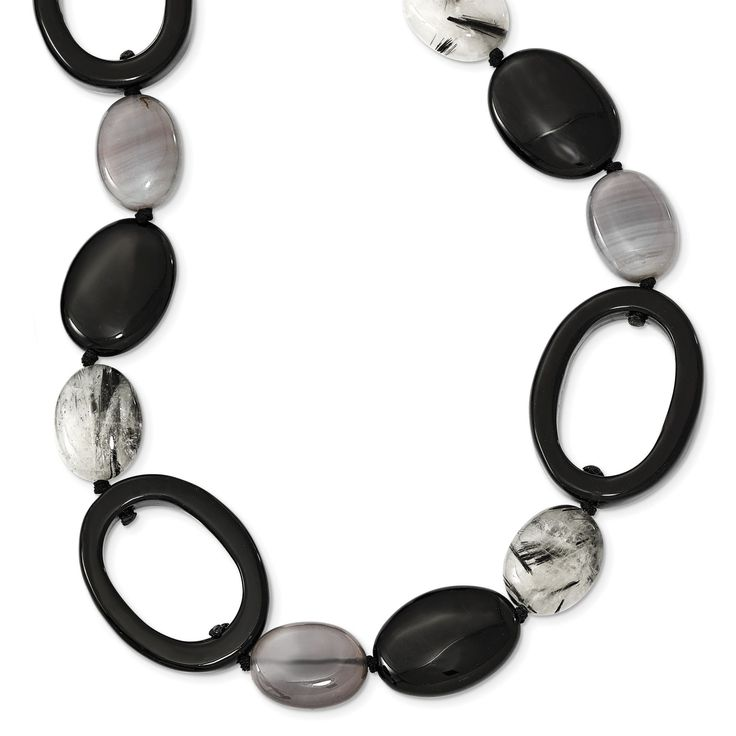 Sterling Silver Black Agate/Tourmalinated Quartz Necklace