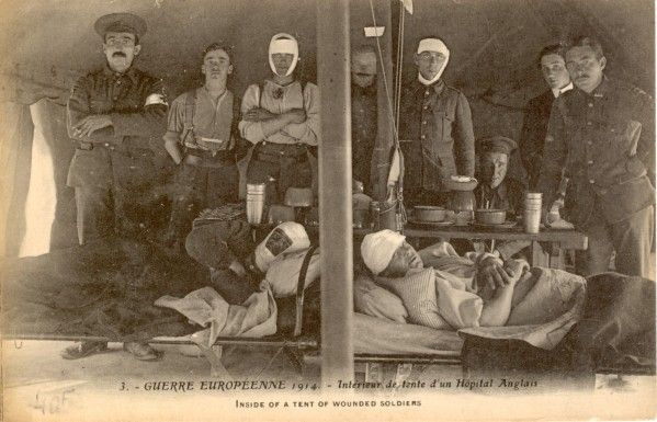 """Inside a tent of wounded soldiers"" WW1 postcard"