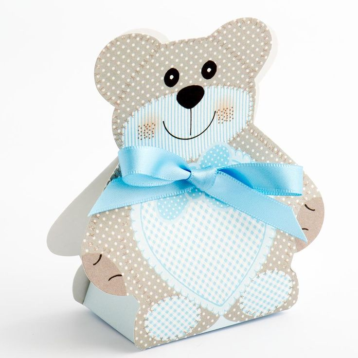 Blue Baby Teddy Favour Box With Ribbon