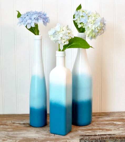 diy spray paint wine or other bottles white let dry then light blue let dry then darker blue chairs