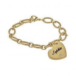 Stainless Steel Yellow Tone Women's Heart Personalized Bracelet - $70.00