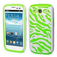 Sannysis Stylish Zebra Combo PC and Silicone Hybrid Case Cover Fit for Samsung Galaxy S3 i9300-Green