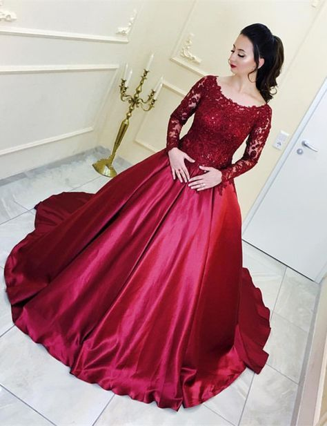 Burgundy Satin Ball Gown Wedding Dresses Lace Long Sleeves  3b8dd030f33b