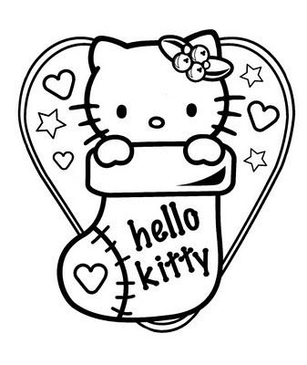 Hello Kitty Christmas Coloring Page Photo 25604566