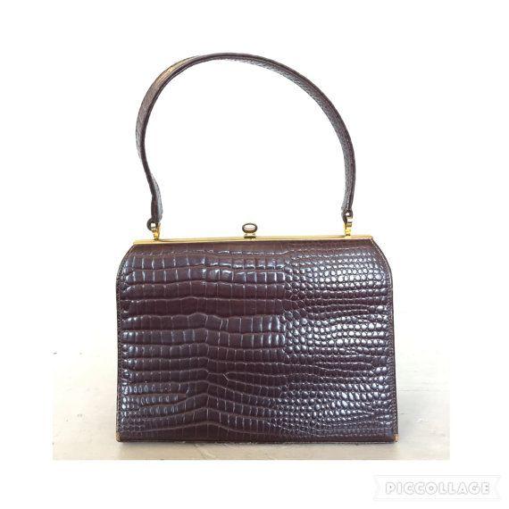 Vintage 50s Faux Lizard Skin Handbag Reptile Snakeskin Leather Purse Tote Evening Bag Mid Century Antique 1960s Mod Retro 1950s Accessories