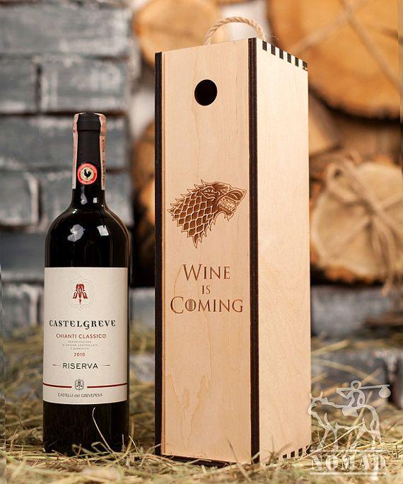 Wine Box, Game of Thrones Wine Box, Wine is Coming Box, Stark Family, Keepsake Box, Bottle Case, Gift Idea, Birthday Keepsake, Gift for Him