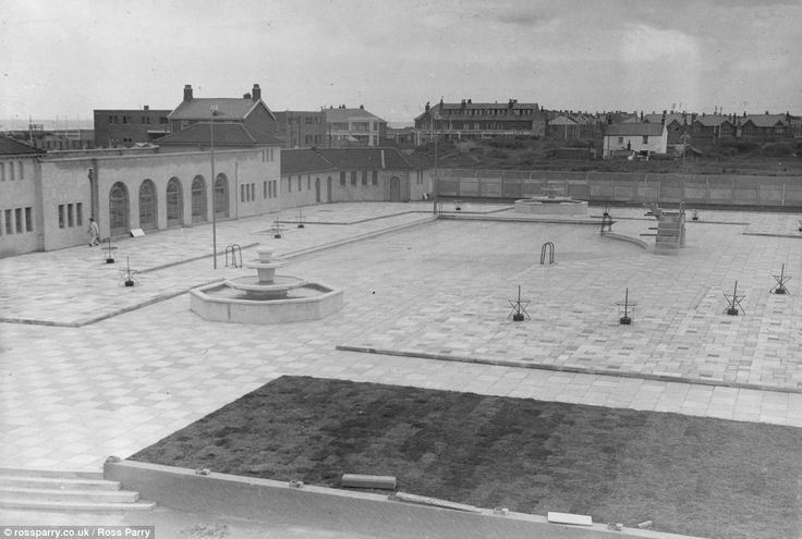 The outdoor bathing pool and paddling pool area nearing completion at Squires Gate Holiday Camp, circa 1930s.