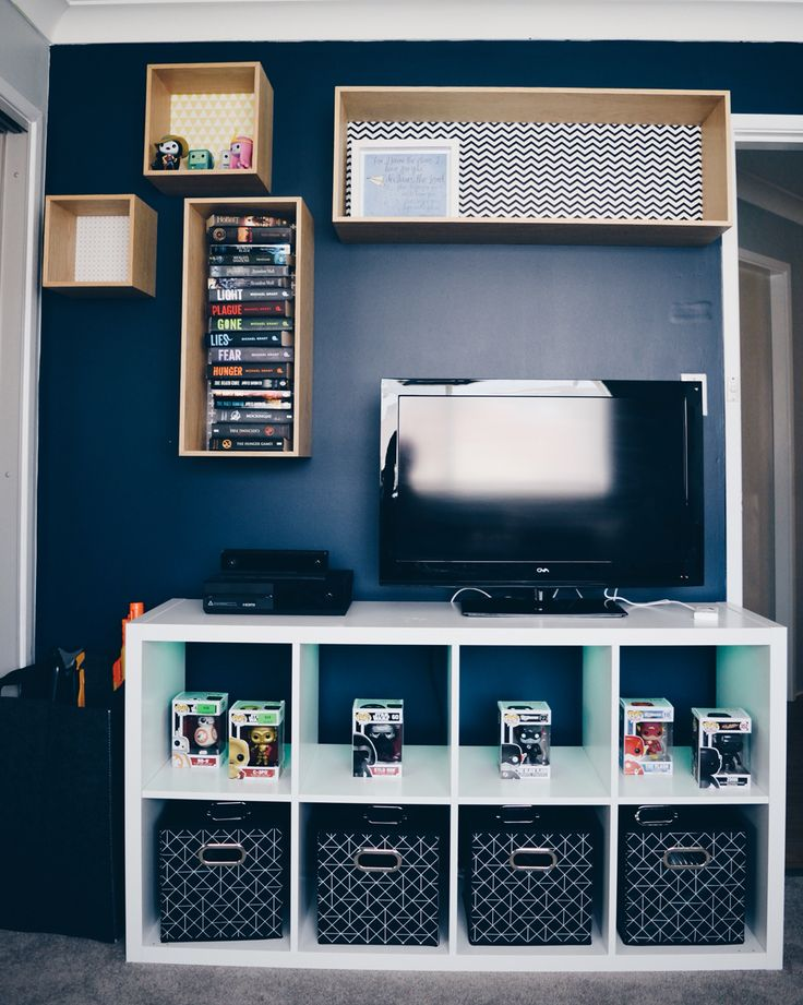 What teenage boy doesn't want a light up tv unit.  IKEA: kallax fitted with a LED multi-use lighting system  Mocka: Box shelves