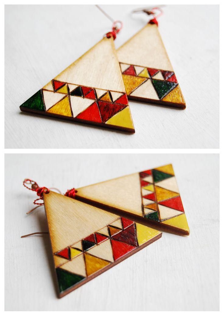wooden pyrograpny earrings