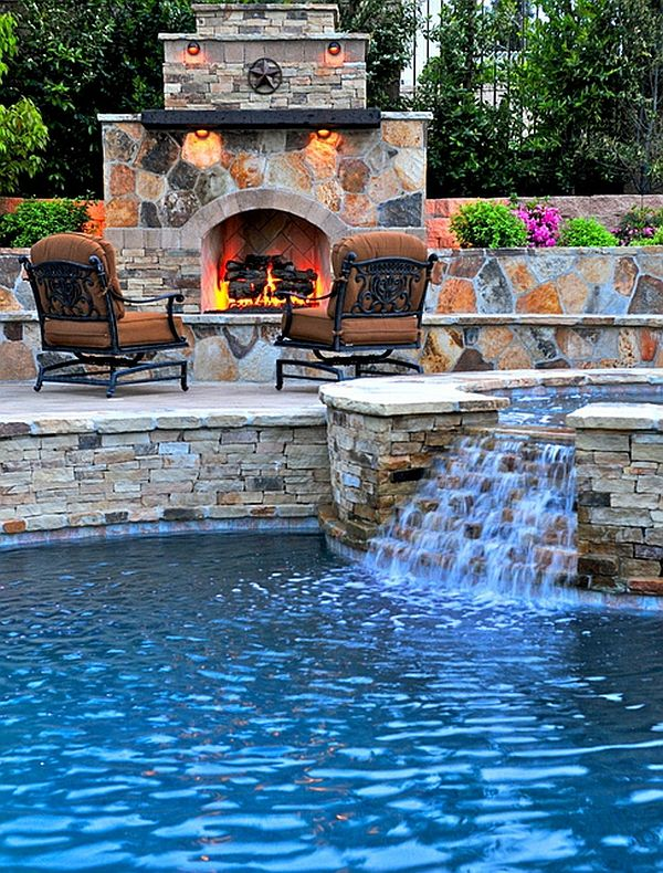 Custom pool, spa and fireplace brought together to create the perfect patio - yep need a fireplace by the pool