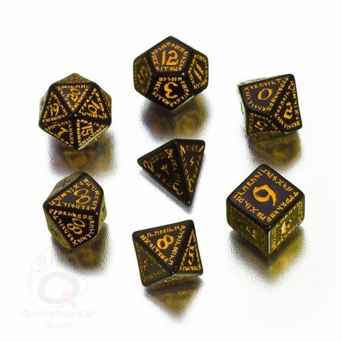 Black-yellow Runic RPG dice