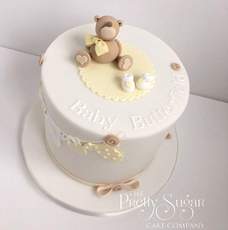 Gender neutral teddy baby shower cake