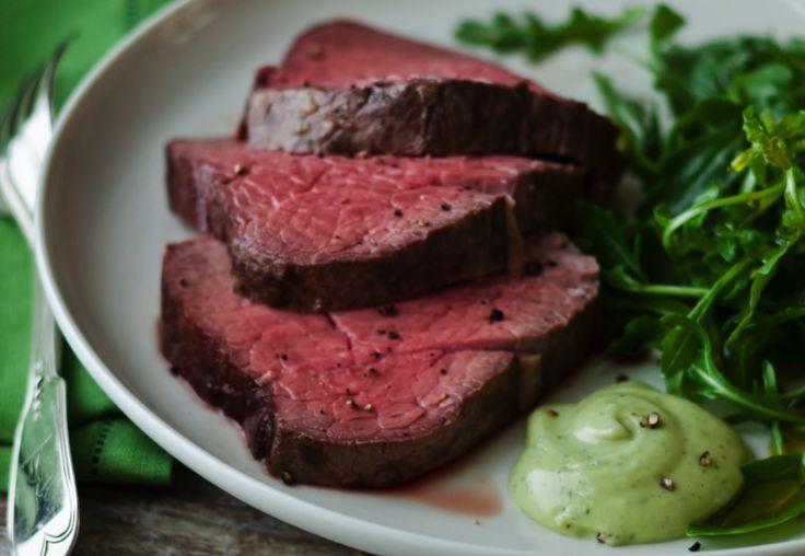 Basil parmesan mayonnaise gives this beef fillet dish a mild, flavorful kick.