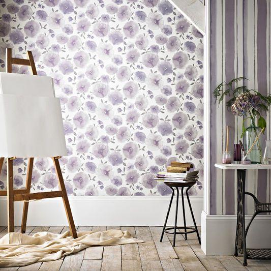 Poppies Lavender Wallpaper, , large