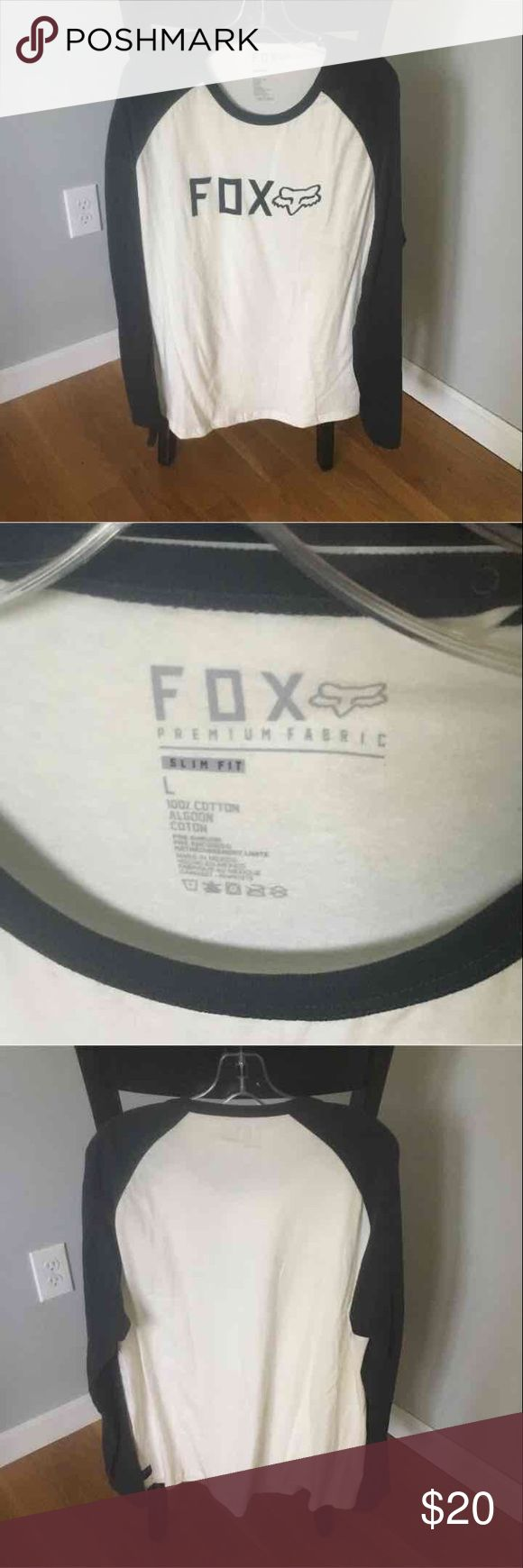 Mens fox brand long sleeve shirt Mens fox racing brand long sleeve t shirt. Size large. Never worn. Black sleeves and off white middle. Fox Shirts Tees - Long Sleeve