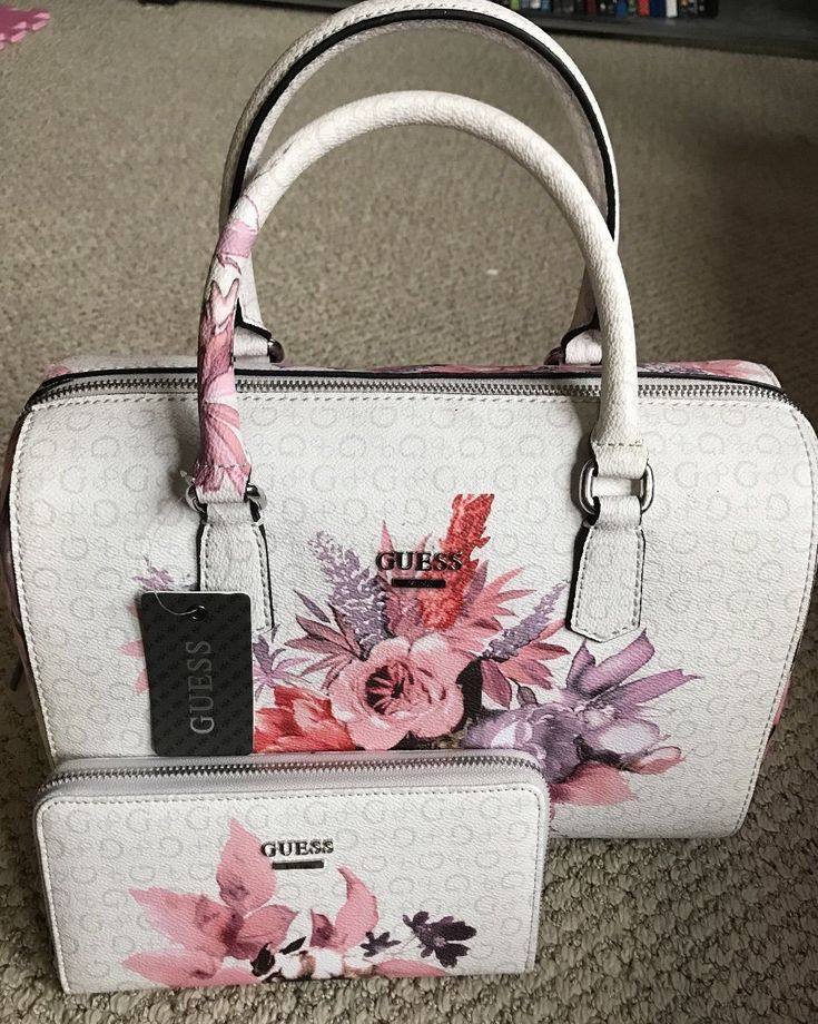 GUESS Ashville Bag FLORAL Wallet SET White PINK ROSE Box Satchel Tote LOGO Purse
