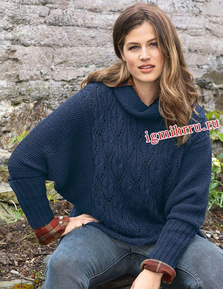 Свободный синий пуловер с рукавами «летучая мышь». Вязание спицами