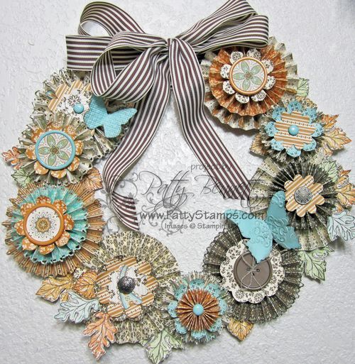 Pin Wheel Wreath Inspiration from Patty Bennett. I have got to make me one of these. This one has so many extras, love it!