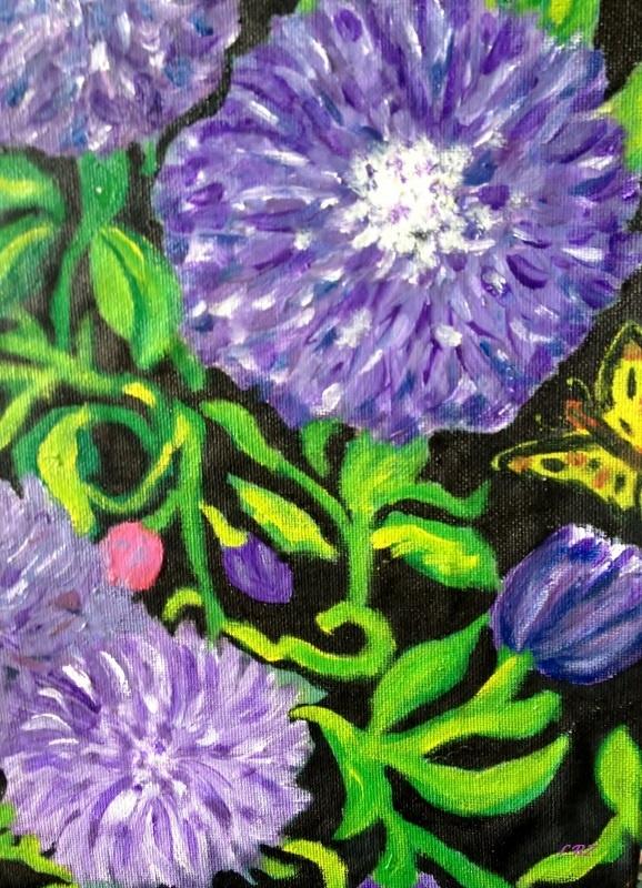 Flowers  Acrylic on canvas    April 7, 2013