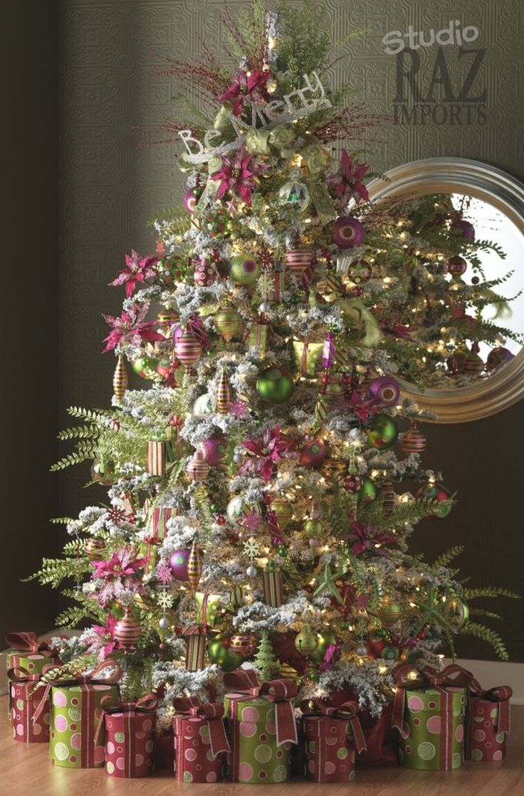 Hot pink and green Christmas tree