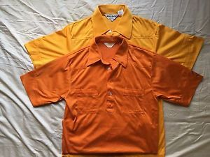 2 Men's short sleeved orange golf shirts Sahara, Nologo size M