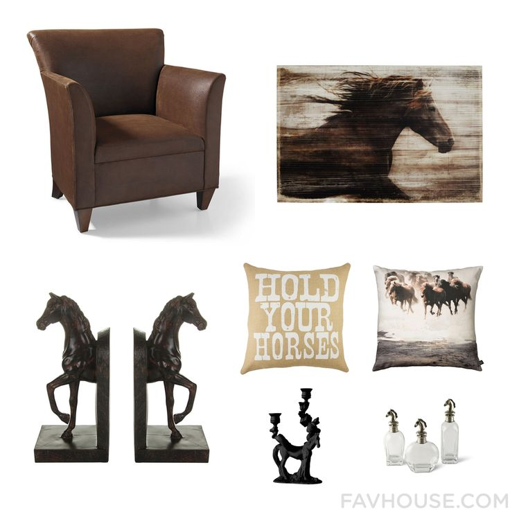 Home Decor With Dark Brown Sectional, Wall Art, Horse Book End And Throw  Pillow