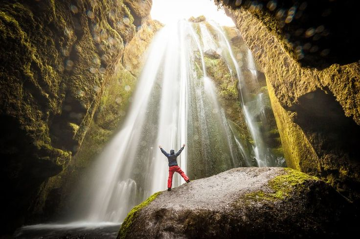 Selfie - Beam me up, Scotty Photo by Kenneth McDowell -- National Geographic Your Shot #gljufrabui #iceland #cave #waterfall #selfie Packed my tent, and got into the morning shower at Gljúfrabúi Waterfall behind the camp ground.