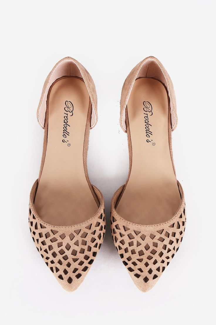 Perforated Pointy Toe Dorsay Flats - Natural - Bare Feet Shoes - 3