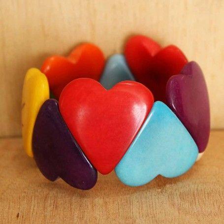 Multicolor Tagua Heart Beaded Bracelet | handmade eco organic | ladies