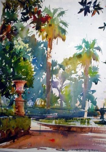 Geoffrey Wynne Acuarelas - Watercolours: CARMEN DE LOS MÁRTIRES, GRANADA- SPANISH GARDEN, GRENADE