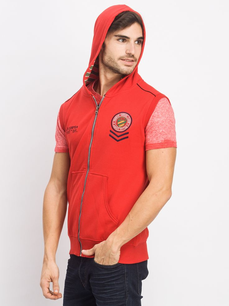 Sleeve less front open hoodies