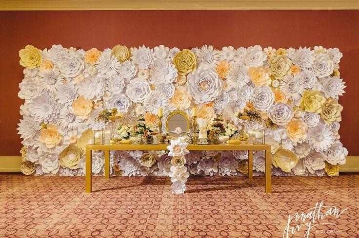 The-Briar-Club-Houston-Wedding-Paper-Flower-Wall