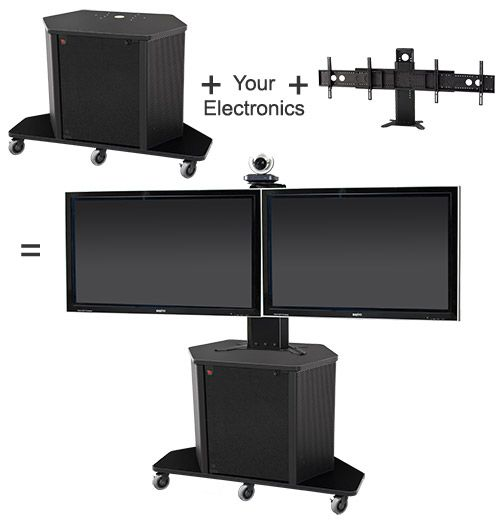 The Package D comprised of the PL3070 cart and the PM-D display mount are the ideal combination when mobility is mandated. This pair perfectly lends itself to most educational teaching, business, military, courtroom and corporate training environments.