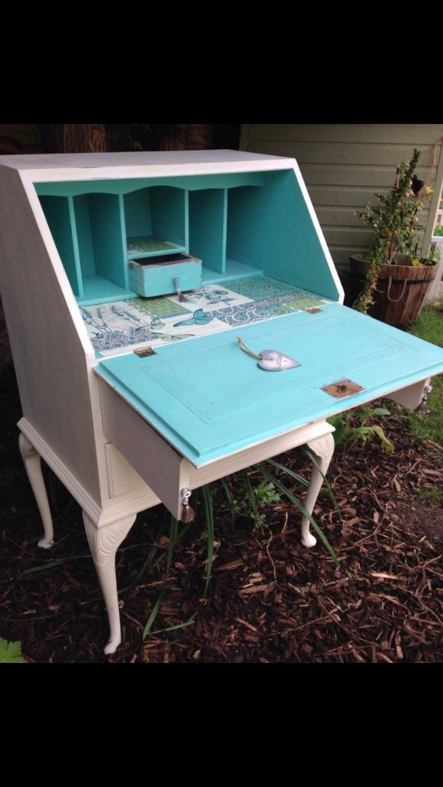 Hand Painted Writing Bureau Decoupage Interior Chalk