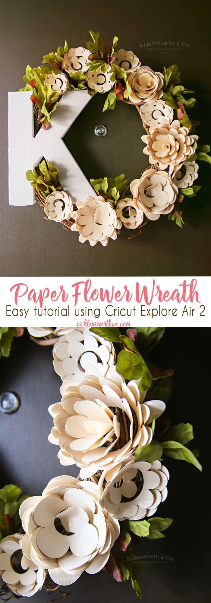 Paper Flower Wreath Cricut Tutorial is a super fun way to dress up your door for spring! Super easy how-to with Cricut Explore Air 2. via @KleinworthCo