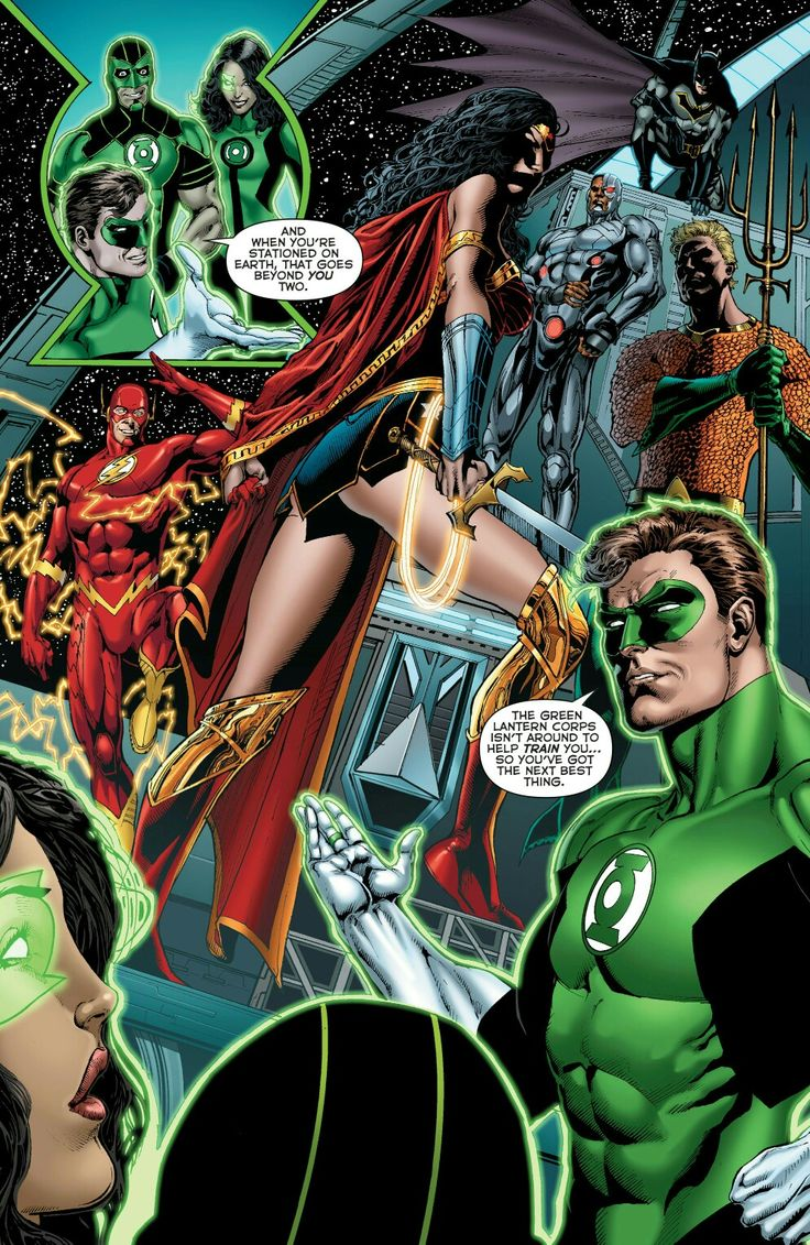Wonder Woman And The Justice League With New Green Lanterns Simon Baz And  Jessica Cruz