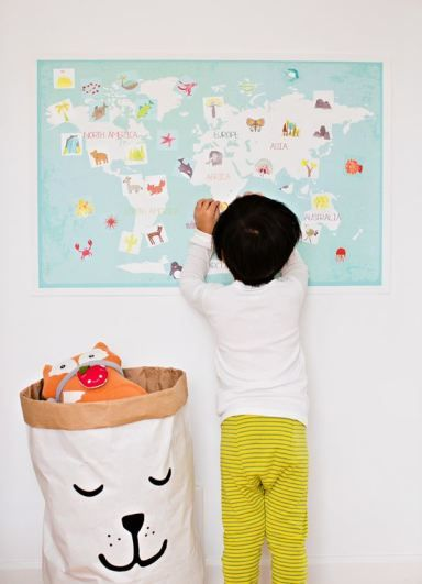 Interactive World Map for Kid. Neat decor idea for child's bedroom and educational, too!