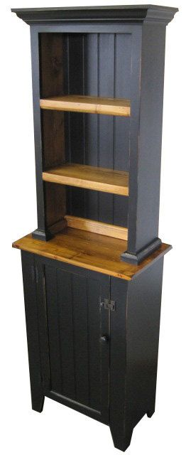 *73h. x 23w. x 14d. *2 pc. Custom built in pine. *Hand applied milkpaint, lightly distressed, clearcoat finish. *Heavier or no distressing
