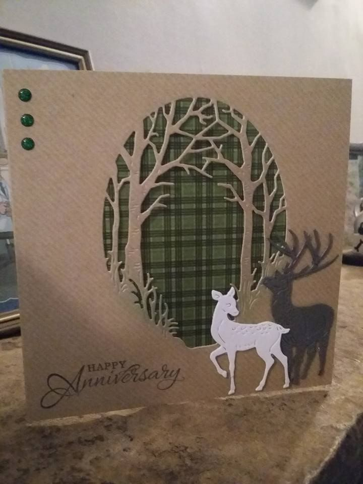 Made by Ali Hill - This was a card I made for my parents 53rd Wedding anniversary. My mother hates 'anything fussy' so I kept it simple on Kraft card using Tattered lace dies and the lovely tartan card as a back to the aperture. Using the deer to represent the happy couple.